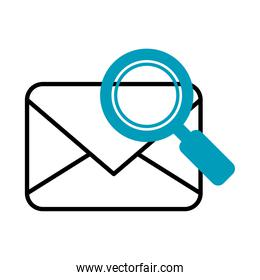 envelope with magnifying glass icon, half line half color style