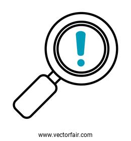 magnifying glass with exclamation mark icon, half line half color style