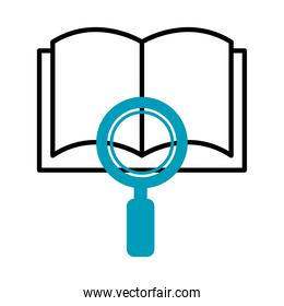 book with magnifying glass icon, half line half color style