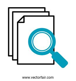 document pages and magnifying glass icon, half line half color style