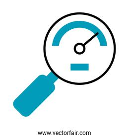 speed meter in magnifying glass shape, half line half color style