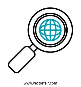 magnifying glass with global sphere icon, half line half color style