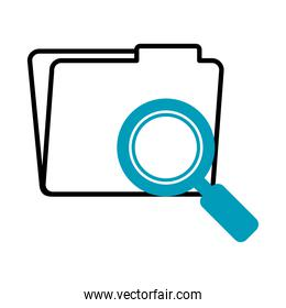 folder with magnifying glass icon, half line half color style