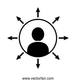pictogram man with arrows around, silhouette style
