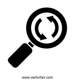 magnifying glass with circular arrows icon, silhouette style