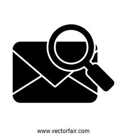 envelope with magnifying glass icon, silhouette style