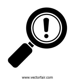 magnifying glass with exclamation mark icon, silhouette style