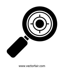 magnifying glass with target icon, silhouette style