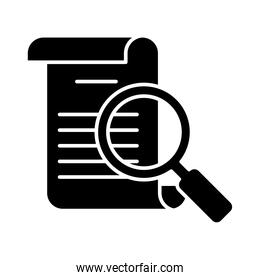 document and magnfiying glass icon, silhouette style