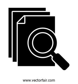 document pages and magnifying glass icon, silhouette style