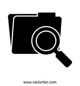 folder with magnifying glass icon, silhouette style