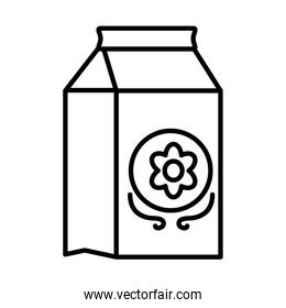 juice box with flower icon, line style