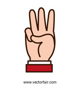 Hand gesture showing 3 number, line and fill style