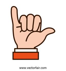 Hand gesture showing Y letter, line and fill style