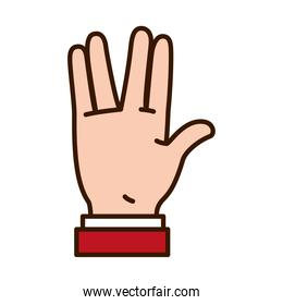 icon of Hand gesture expression on Sign Language, line and fill style
