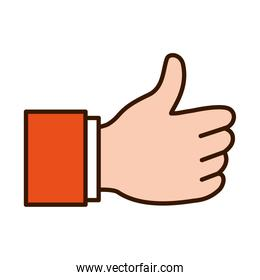 Hand gesture with thumb up, line and fill style