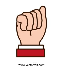 icon of Hand gesture showing A letter, line and fill style
