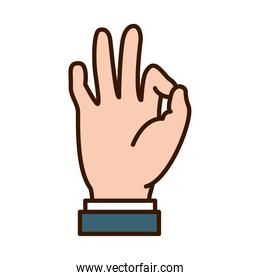 Hand gesture showing Ok expression on Sign Language, line and fill style