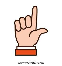 Hand gesture showing L letter, line and fill style