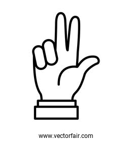Hand gesture showing 3 number, line style