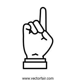 Hand gesture showing Z letter, line style