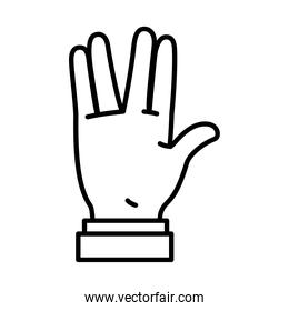 icon of Hand gesture expression on Sign Language, line style