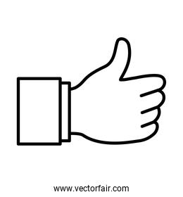 Hand gesture with thumb up, line style