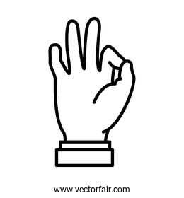Hand gesture showing Ok expression on Sign Language, line style