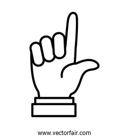 Hand gesture showing L letter, line style