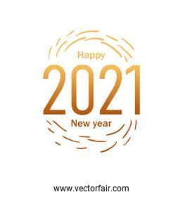 Happy new year 2021 with lines gold gradient style icon vector design