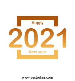 Happy new year 2021 in square gold gradient style icon vector design