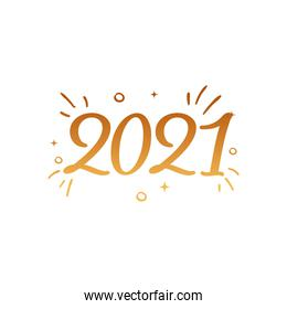 2021 with lines gold gradient style icon vector design