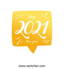 Happy new year 2021 in bubble gold gradient style icon vector design