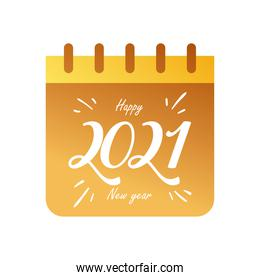 Happy new year 2021 in calendar gold gradient style icon vector design