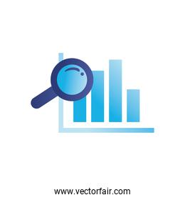 lupe with bars chart gradient style icon vector design