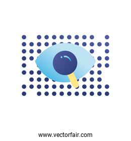 lupe with eye gradient style icon vector design
