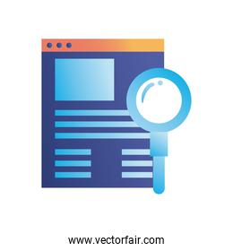 lupe with website gradient style icon vector design