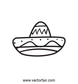 mexican hat free form line style icon vector design