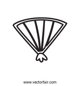open hand fan free form line style icon vector design
