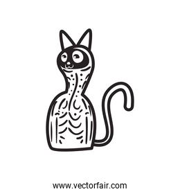 Mexican day of deads skull cat free form line style icon vector design