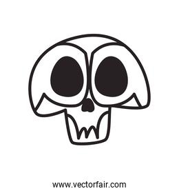 Mexican day of deads skull head free form line style icon vector design
