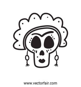 Mexican day of deads frida skull head free form line style icon vector design