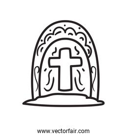 Mexican day of deads grave free form line style icon vector design