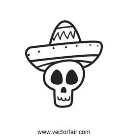 Mexican day of deads skull head with hat free form line style icon vector design