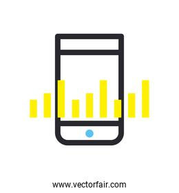 bars chart in front of smartphone line and fill style icon vector design