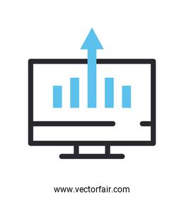 bars chart in computer line and fill style icon vector design