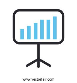 bars chart in board line and fill style icon vector design