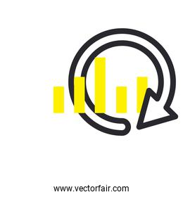 bars chart with repeat arrow line and fill style icon vector design