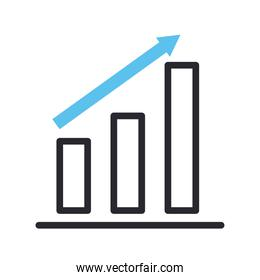 bars chart with increase arrow line and fill style icon vector design