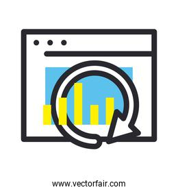 bars chart with repeat arrow on website line and fill style icon vector design